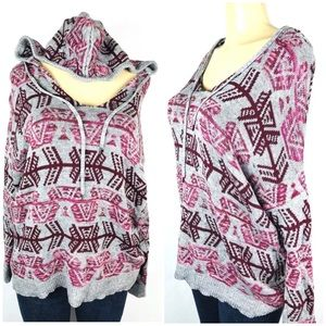 Pullover Hoodie Sweater Size M Tribal Scoop Neck